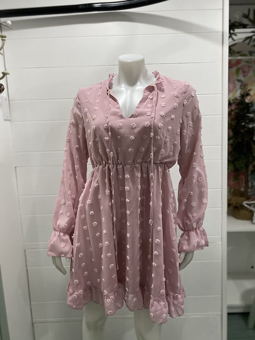 PINK LONG SLEEVE DRESS WITH PINK DOTS