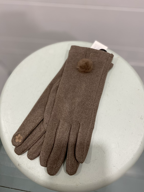 PICABO BROWN SUEDE TEXTING GLOVES WITH FURRY BALL