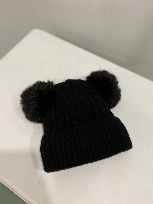 BLACK DOUBLE POMPOM KIDS HAT