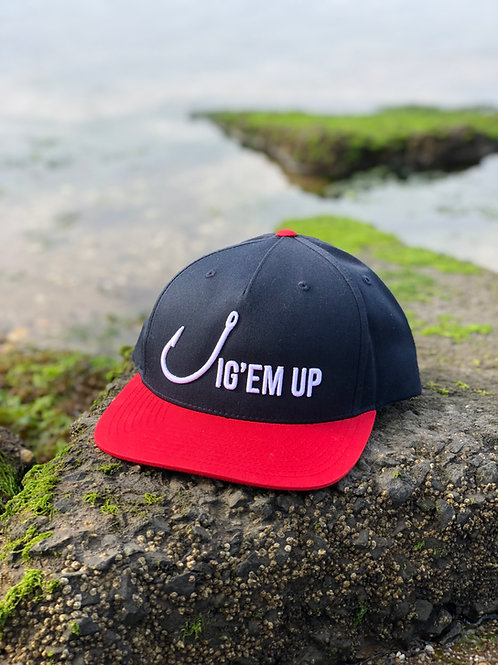 Jig'em Up Navy/Red SnapBack Hat