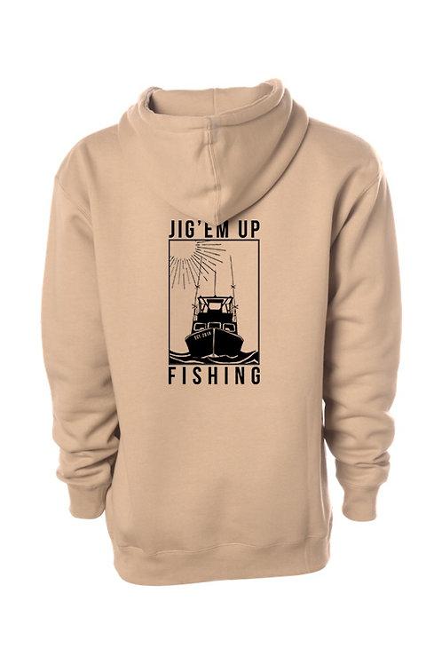 Fishing Boat Tan Hooded Sweatshirt
