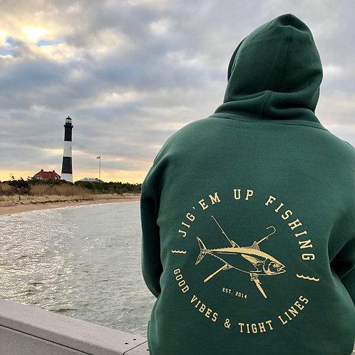 Tight Lines Tuna Green Hooded Sweatshirt