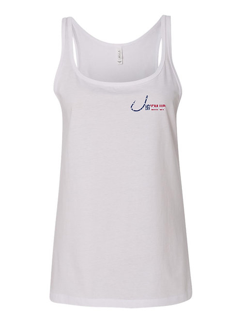 USA Flag Ladies White Tank Top