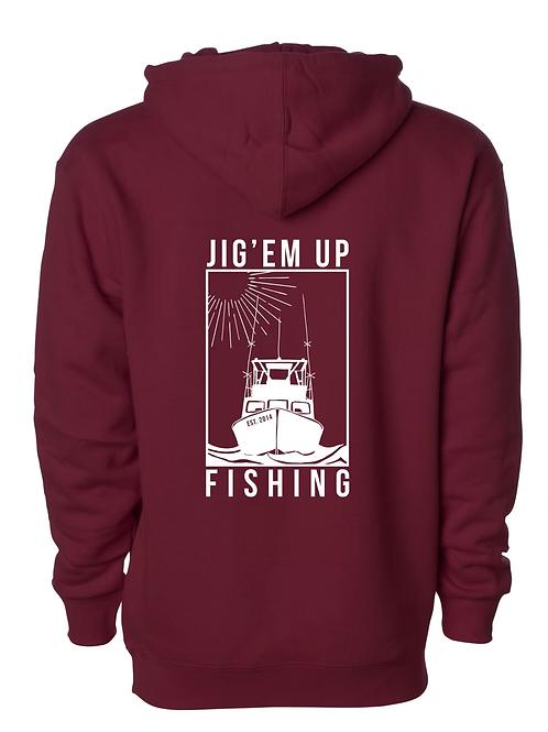 Fishing Boat Marooon Hooded Sweatshirt