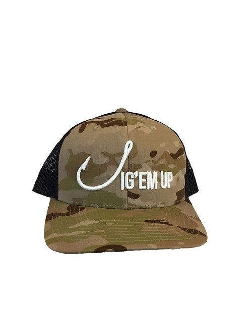 Jig'em Up Trucker Camo Mesh SnapBack Hat