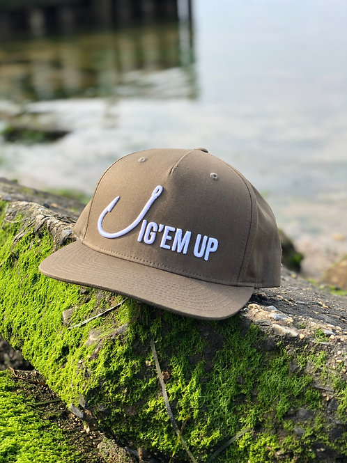 Jig'em Up Olive Green SnapBack Hat