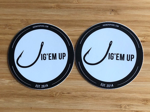 Jig'em Up Circle Stickers (two-pair)