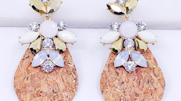 Fringed Cork and Leather Statement Earrings