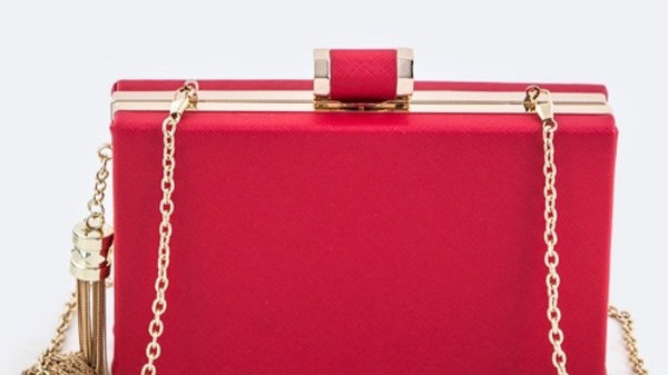 Josephine's Rectangle Box Clutch with Gold Tassle