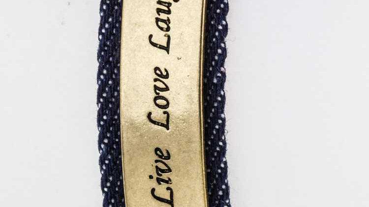 Live Love Laugh Engraved Tag Denim Bracelet