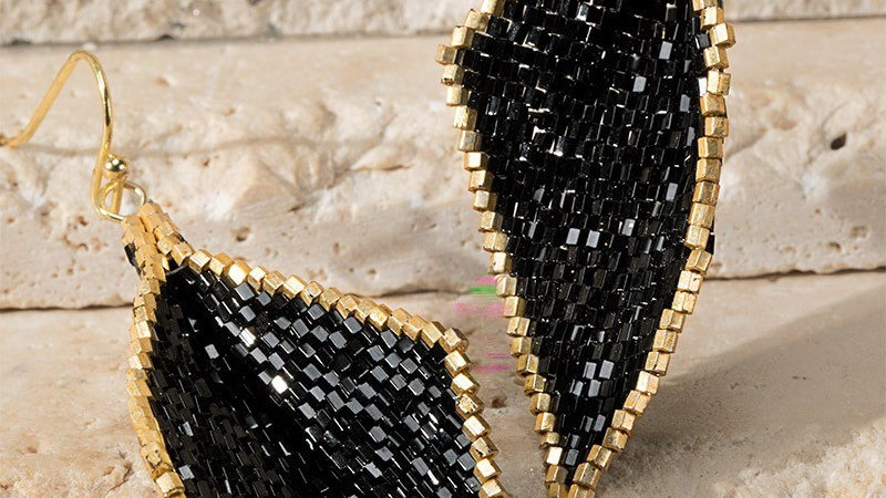 Josephine's Beaded Diamond Shape Earrings