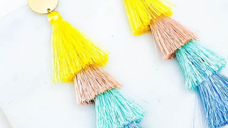 Tie Spring Tassel Post Drop Earrings