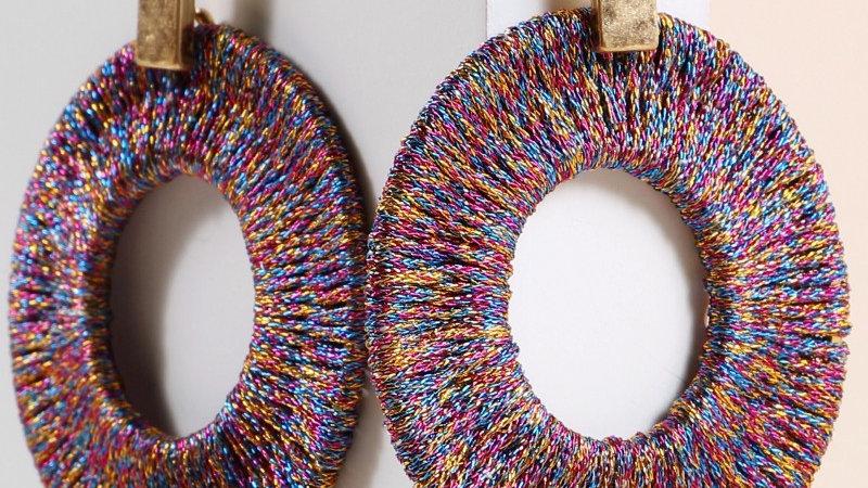 Metallic Thread Wrap Round Earrings