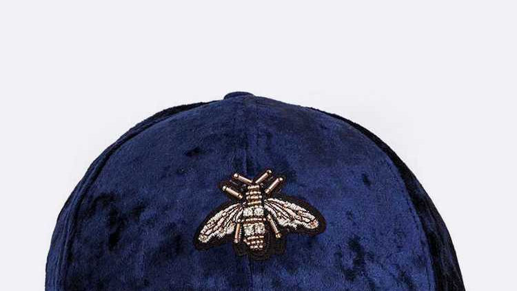 BEE Embellished Distressed Velour Cap