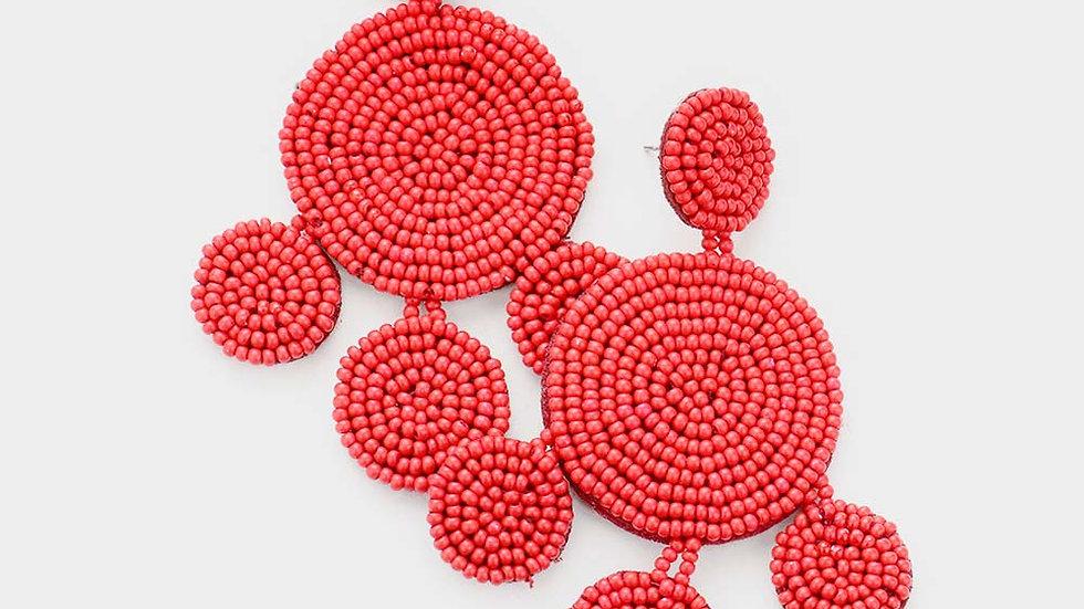 Seed Beaded Chandelier Dangle Earrings