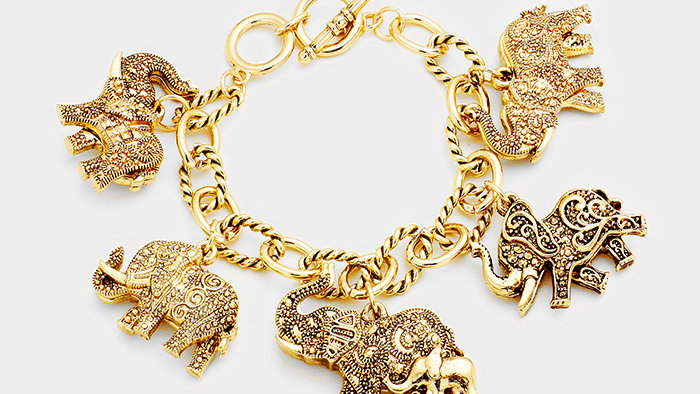 Antique Multi Elephant Charm Station Bracelet