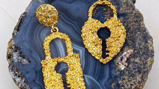 Josephine's Mix Match Key and Lock textured earrings