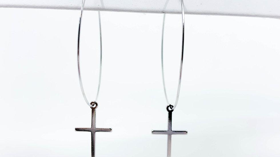 White Gold Dipped Cross Hoop Earrings
