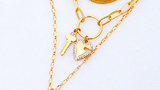 Josephine's set of three heart and key lock pendant