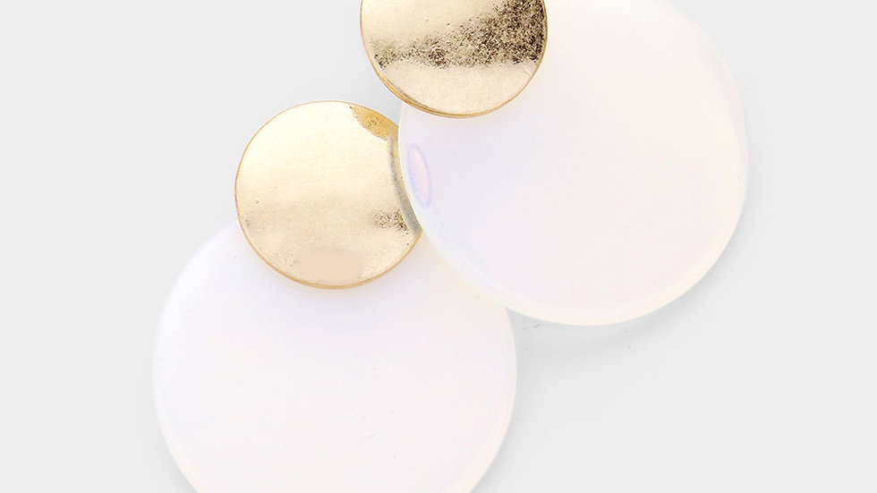 Clear Semi Precious Natural Stone Round Earrings