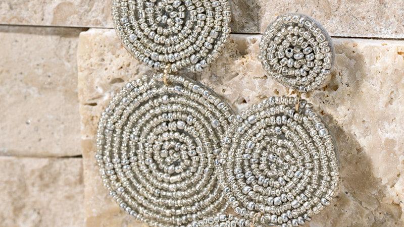 Eye catching triple drop seed beaded post dangle statement earrings