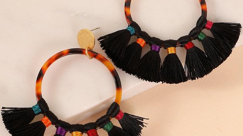 Round Acetate Tassel Earrings