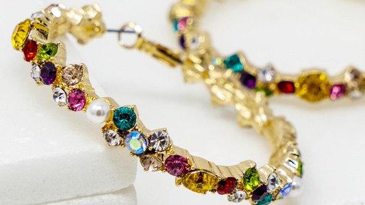 Josephine's Multi-Color Rhinestone and Pearl Hoop