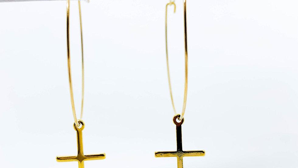 Gold Dipped Cross Hoop Earrings
