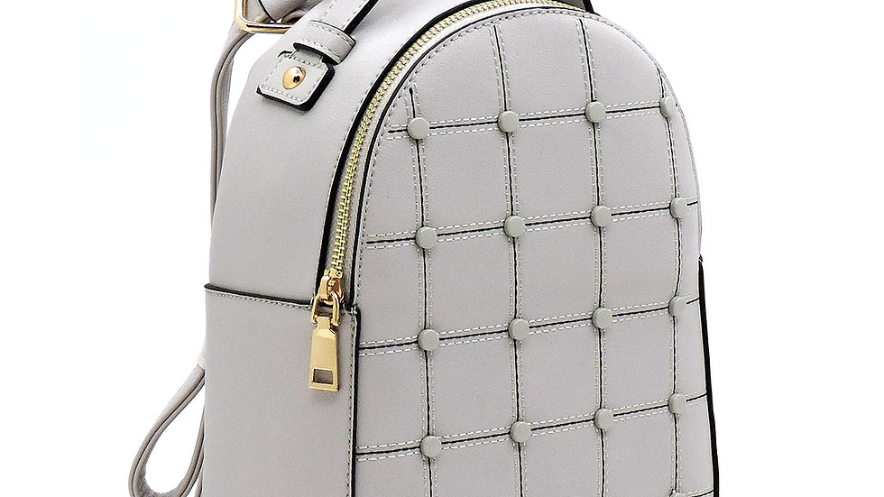 Fashion Studded Check Backpack