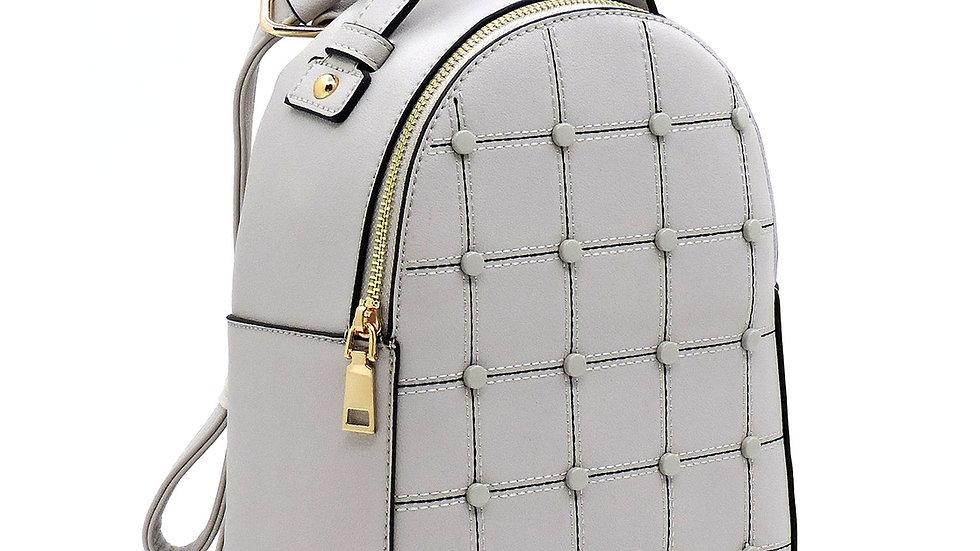 Fashion Studded Check Backpack
