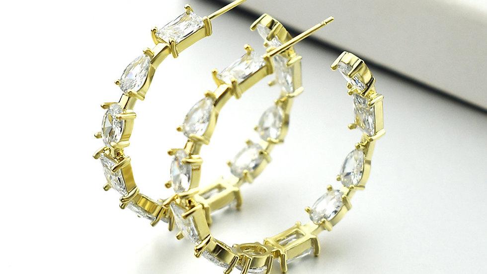 Josephine's Exquisite Stone  Hoop Earrings