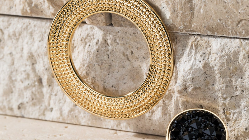 shimmery stone with textured metal ring earrings
