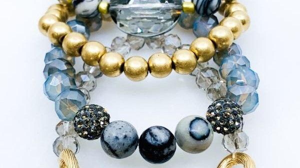 4 Stranded Semi precious Stone and Chain Strecth Bracelet Set