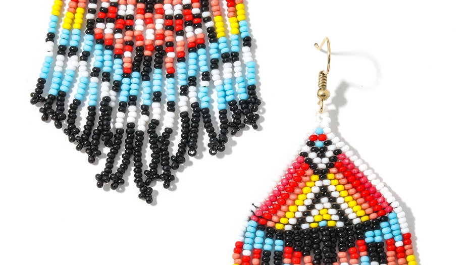 Beaded triangle drop earrings design