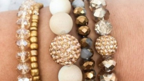 Josephine's Beaded 5 line Cross Stretch Bracelet In Nude