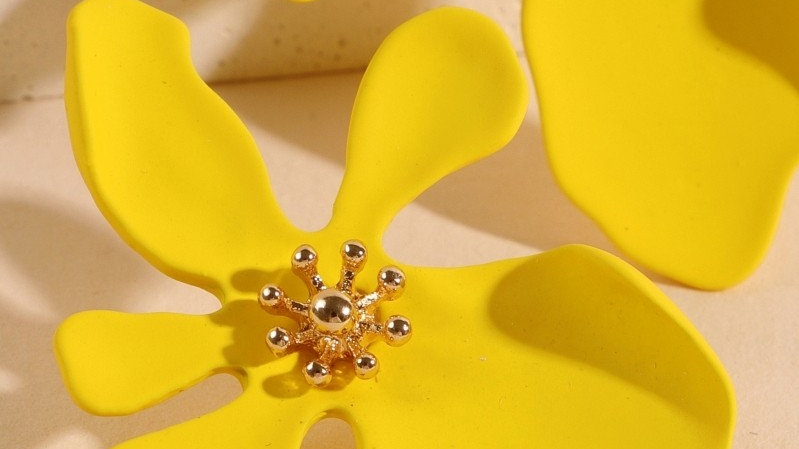 Floral Color Coated Stud Earrings