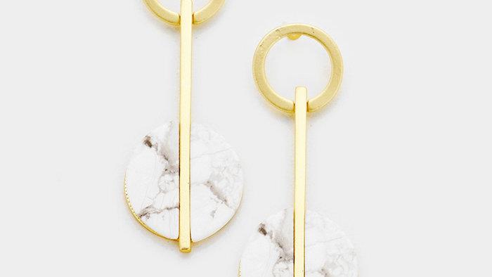 Metal Hoop How-lite Dangle Earrings