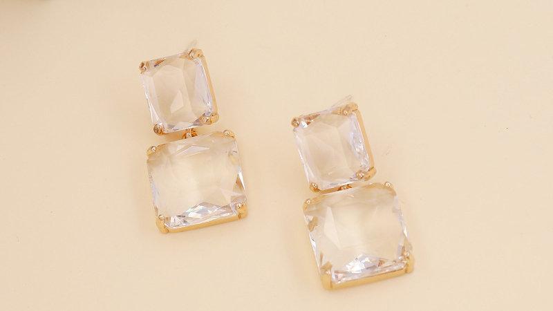 Josephine's Square Crystal Long Earrings