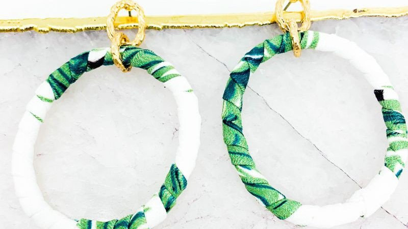 Fabric Wrapped Post Drop Earrings