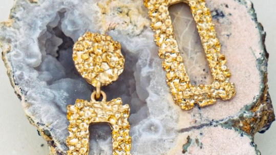 Josephine's gold nugget casting earrings