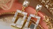 Josephine's Retro Fashion Square Crystal Earrings