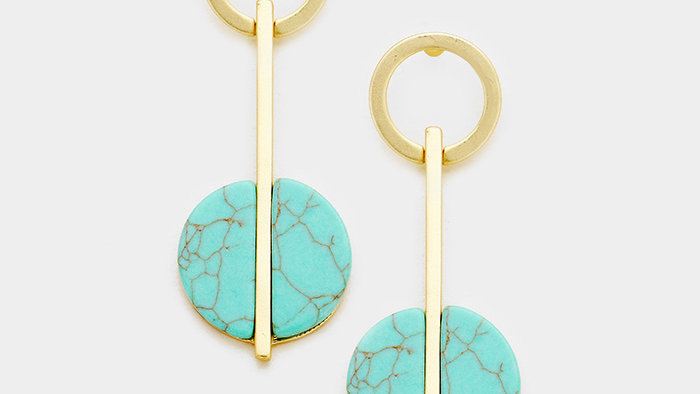 Metal Hoop Turquoise Dangle Earrings