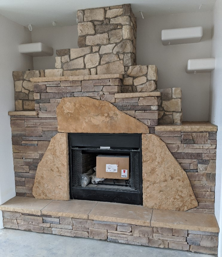 Great Room fireplace, with two different depths of rock facing
