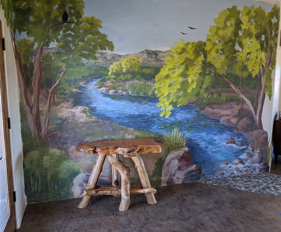 Mural on the River Room wall, depicting the Verde River.
