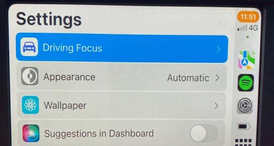 CarPlay - Settings Screen