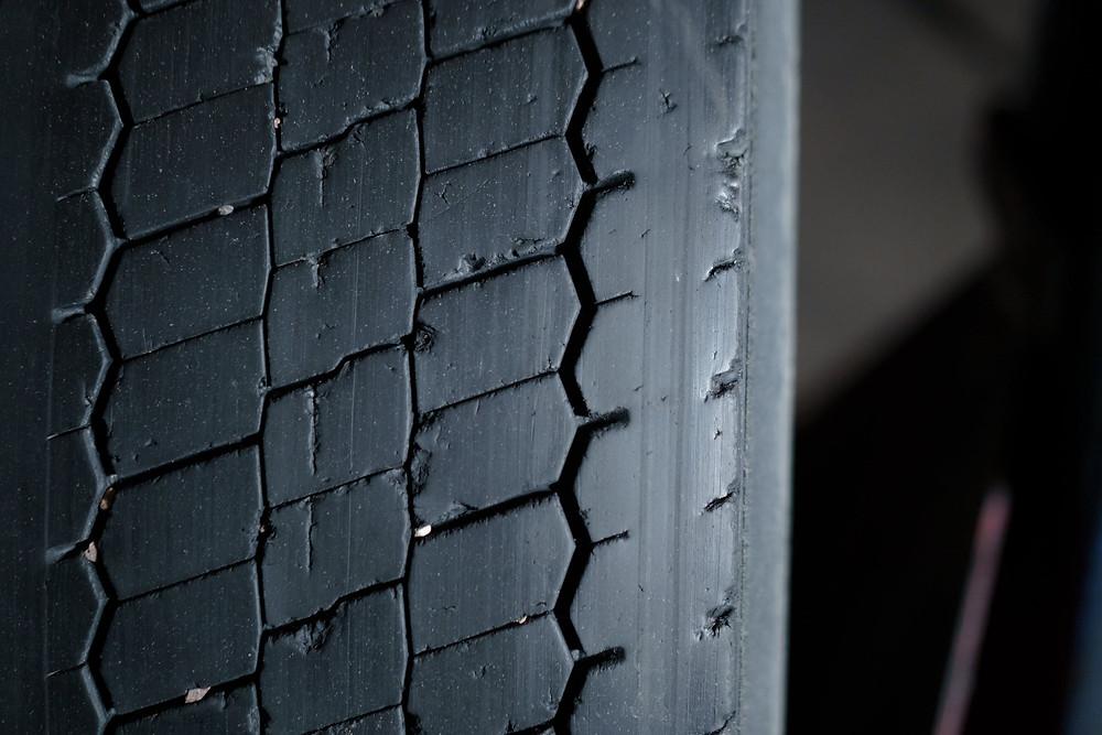 A worn-down tyre