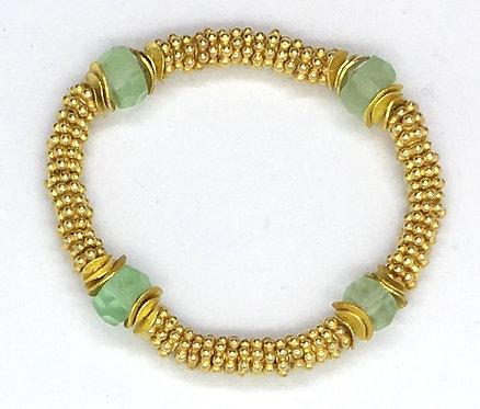 22k Gold over Sterling Daisy Bracelet with Green Flouri Semi-Precious Stone Bead