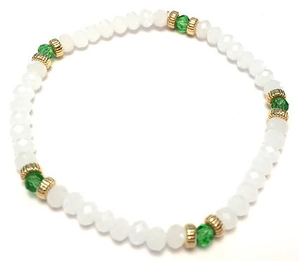 Cleopatra - Stacking Bracelets in White and Spring Green Crystals