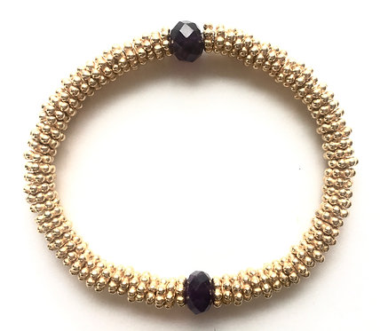 22k Gold over Sterling Daisy Bracelet with Amethyst Semi-Precious Stone Bead