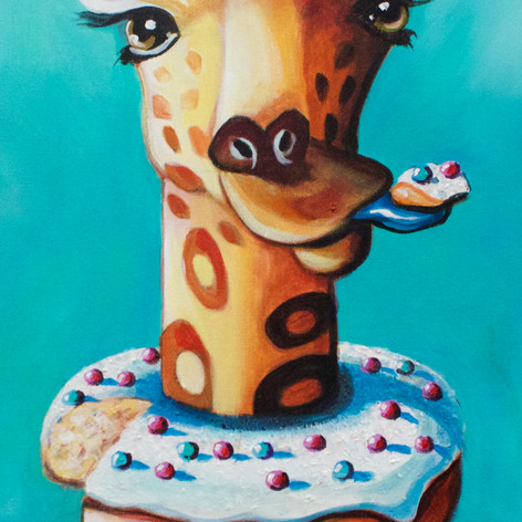 Giraffe with Donuts